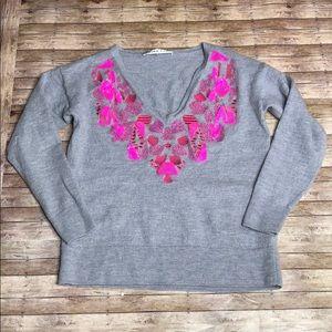 Trina Turk Merino Wool Beaded Sweater